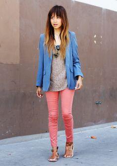 colored jeans & blazer