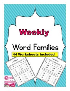 This is great for Weekly Word Work, centers, homework etc. - Word Families #spelling #education #teachers