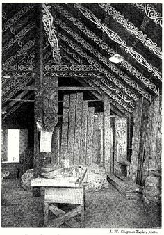 Interior of Te Aomarama Craving School at Rotorua, phot by J. W. Chapman-Taylor. From Carved Houses of Te Arawa, courtesy of the Knowledge Basket.