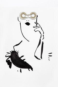 We see you! opera glass, jewelleri fashion, fashion art, fashion illustrations