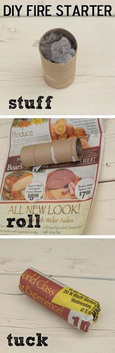 Dryer Lint Fire Starter  Fall is approaching and it's time to spark up the fire pit and an easy way to get the entertaining going. Use leftover dryer lint, stuff it in a toilet paper roll, wrap it in newspaper and voila - DIY fire starter.