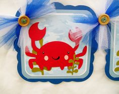 Under the sea, gender neutral, baby shower,  birthday, banner, sea creatures, octopus, fish, jellyfish, seahorse, whale, crab. $30.00, via Etsy.