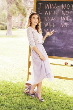 The cozy texture of a pointelle-knit sweater balances an ethereal chiffon skirt. LC Lauren Conrad at #Kohls