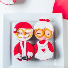 Mr  Mrs Claus Red Velvet Cupcakes with cream cheese filling for a very merry Christmas.