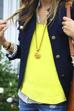 polka dots, bright top, brass button jacket, distressed denim