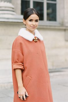 for doing whatever it is miraslova duma would do during fashion week in paris for ss '13: a coral cashmere coat (photo by vanessa jackman)