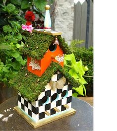 hand painted birdhouse with moss covered roof by ThreeMerryBees,