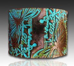 Polymer clay cuff and mixed media bracelet by adrianaallenllc, $16.00