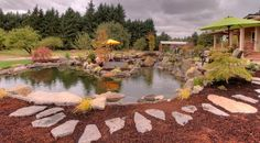 The staggered flagstones create a natural yet comfortable pathway around this beautiful water feature. The natural materials and colors go well with a Craftsman-style home.  By Paradise Restored Landscaping in Oregon.