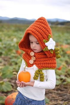 Girls Crochet Pumpkin Patch Hooded Cowl Toddler, Child, Teen/Adult - this is so adorable! cowl toddler, pumpkin patch, crochet for toddlers, hood cowl, crochet pumpkin, hooded crochet cowl, girl crochet, hat, crochet cowls