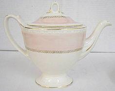pretty Georgian style pink and cream teapot.