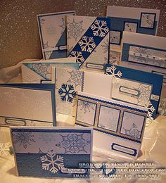 One Sheet Wonder Snowflakes - I love to do these!  So simple and fun! card idea, wonder snowflak, one sheet wonder, snowflak card