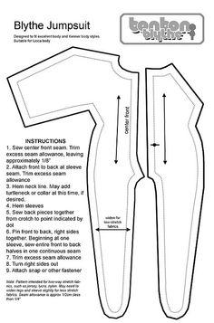 Blythe doll catsuit pattern  #diy #doll #sew #blythe #pattern