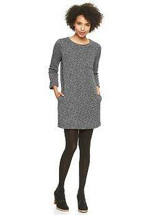 Herringbone fleece shift dress size small tall