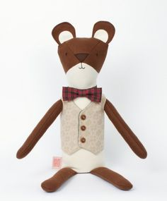 Charley the Bear - Walnut Animal Society - Stuffed Animals Handmade in the USA