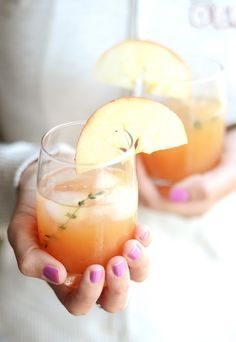 Cider Rum Punch    Ingredients:    8 ounces dark rum  3 ounces lemon juice  4 ounces thyme simple syrup  12 ounces apple cider  4 ounces water  4 ounces club soda  8 dashed of Angostura Bitters  sprigs of thyme, garnish  apple wheels, garnish