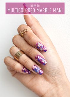 Nail Art How-To: Marble Manicure - This multicolored marble mani is a must-try.