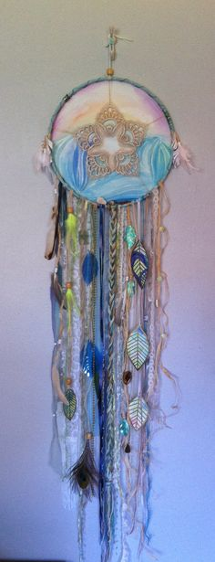ocean island mermaid sea dreamcatcher with watercolor painting background and watercolor feathers by rachael rice http://rachaelrice.com/art/custom-orders