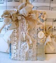 Handmade Needle Book Needle Case from Vintage Linens and Antique Lace - SWEETNESS