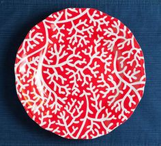 Red Coral Melamine Dinner Plates