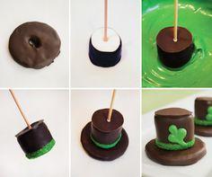 hats, leprechaun hat, crafting with food, holiday food, leprechaun smore, yummi, holiday idea, st patrick, treat