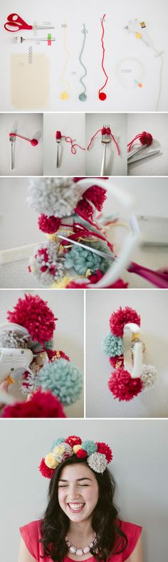 Pom Pom Party Hat Tutorial- for crazy hat and hair night! Haha