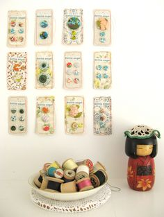 cute vintage fabric covered buttons