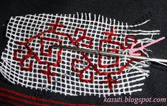 Kasuti embroidery- removing the net
