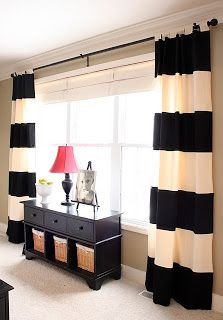 Window drapes and table