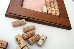 Cork Crafts  DIY Wine Cork Bulletin Board  - made from old cabinet door - beautiful wood grain - DIY kit