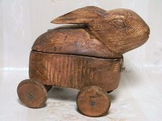 Antique Hand Carved Rabbit on Wheels Box