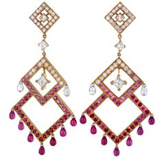 BOUCHERON - Fabulous Diamond, Ruby, Sapphire Chandelier Earrings