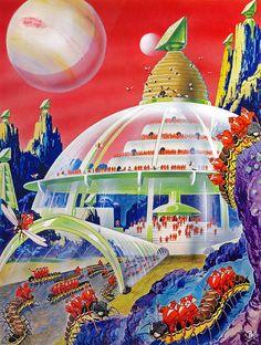 1942 ... ( Geodesic Dome / Future City / Retro Futurism / Vintage Future Illustration ) Jupiter )