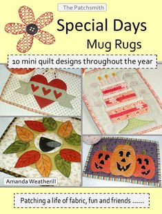 Special Days Mug Rug Pattern Booklet 10 mini quilt by Patchsmith, $9.99
