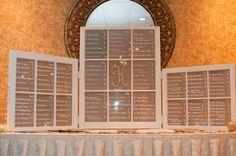 vintage window seating chart for wedding reception / Koru Wedding Style: {Purple & White Cape May Wedding} Krista & Joe