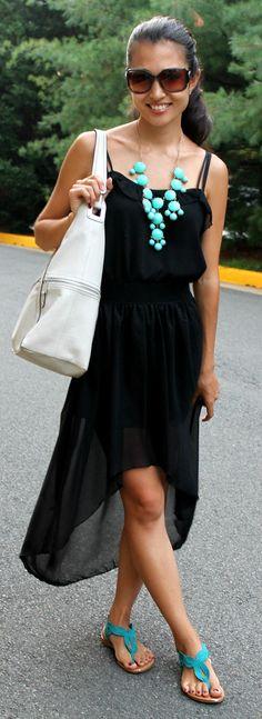 Black chiffon hi-low skirt - $17.00