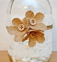 Burlap flowers & button accents.