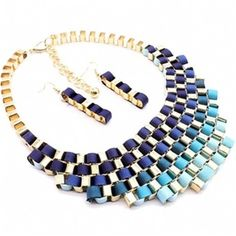 Blue Ribbon Wrapped Gold Chain Link Necklace $49.95