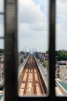 View of the Philadelphia skyline from the westbound train tracks