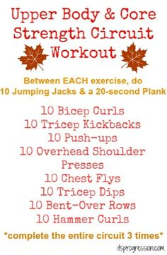 Upper Body  Core Strength Circuit Workout {Don't lose weight fast, Lose weight NOW!| Amazing diet tips to lose weight fast| dieting has never been easier| lose weight healthy and fast, check it out!| amazing diet tips, lost 20lbs in under a month| awesome! This really works, I lose 40lbs already!|