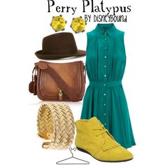 shoes, perri, color combos, cloth, disneybound, disney bound, inspired outfits, perry the platypus, disney fashion