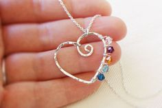 Mothers necklace with child birthstones  #handmade #jewelry #pendant #bead #beading #wire_wrapping