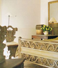 french interiors, antiqu french, antique beds, french bed, carved wood, veranda, old chairs, french antiques, bedroom