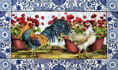 http://www.tilesbymimi.com/MURALS/Landscapes/roosters_tile_mural_delft-2.JPG