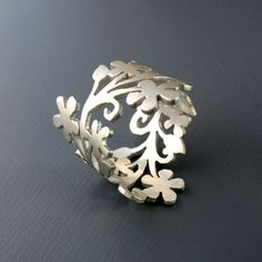 hand cut sterling silver floral branch ring by Lisa Hopkins Design