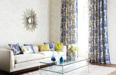 interior, living rooms, blue curtain, neutral rooms, small space, homes, live room, blues, pattern curtain