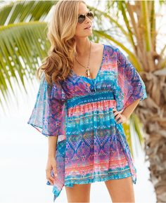 Jessica Simpson Printed Back-Cutout Tunic Cover Up