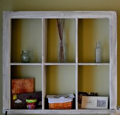 Old window turned into shelving