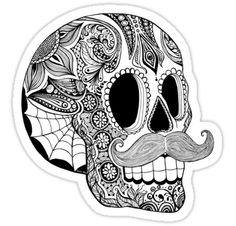 Mustache Mexican sugar skull tattoo design.