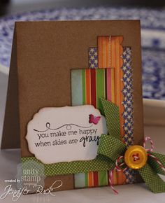 card with scraps and a label - Love this!